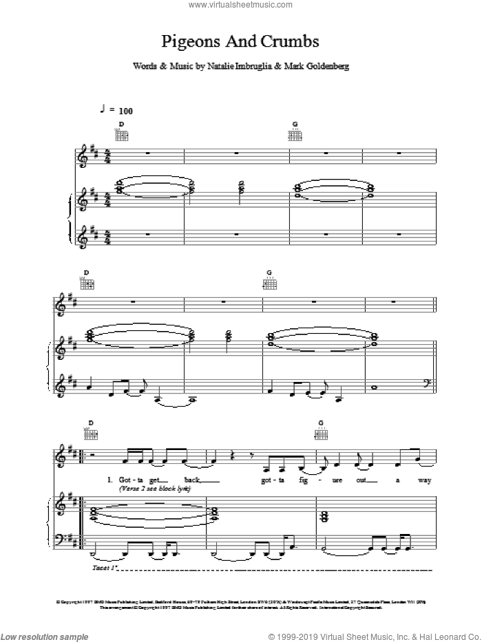 Pigeons And Crumbs sheet music for voice, piano or guitar by Natalie Imbruglia, intermediate. Score Image Preview.