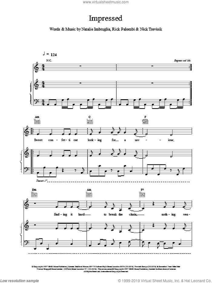 Impressed sheet music for voice, piano or guitar by Natalie Imbruglia. Score Image Preview.