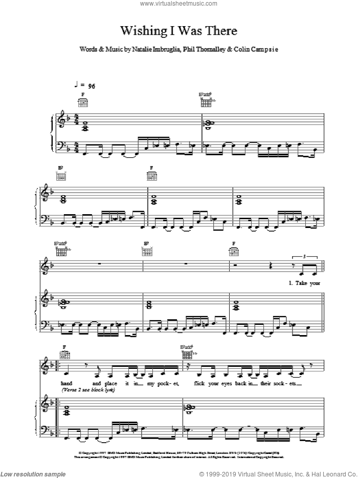 Wishing I Was There sheet music for voice, piano or guitar by Natalie Imbruglia. Score Image Preview.