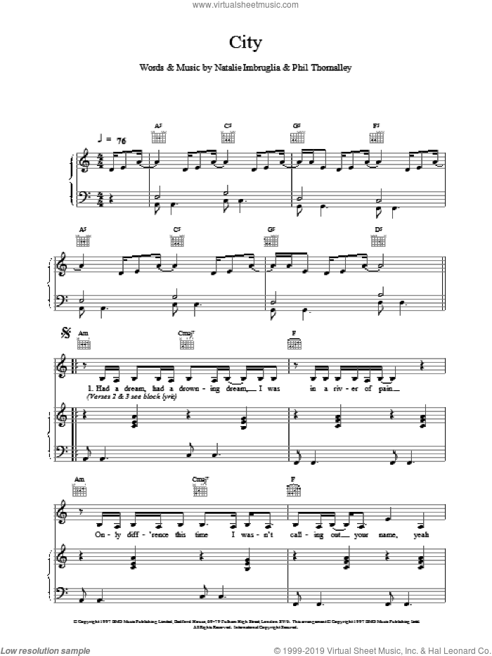 City sheet music for voice, piano or guitar by Natalie Imbruglia. Score Image Preview.
