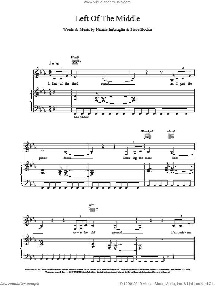 Left Of The Middle sheet music for voice, piano or guitar by Natalie Imbruglia, intermediate skill level