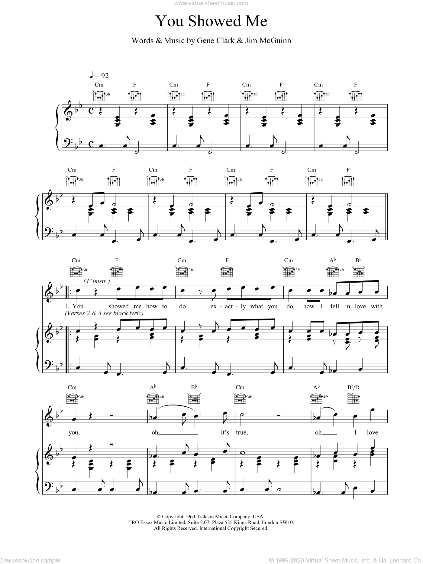 You Showed Me sheet music for voice, piano or guitar by The Lightning Seeds. Score Image Preview.