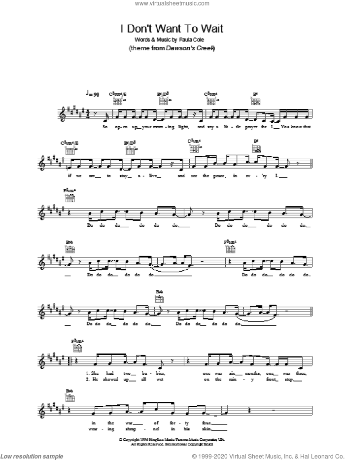 I Don't Want To Wait sheet music for voice and other instruments (fake book) by Paula Cole. Score Image Preview.