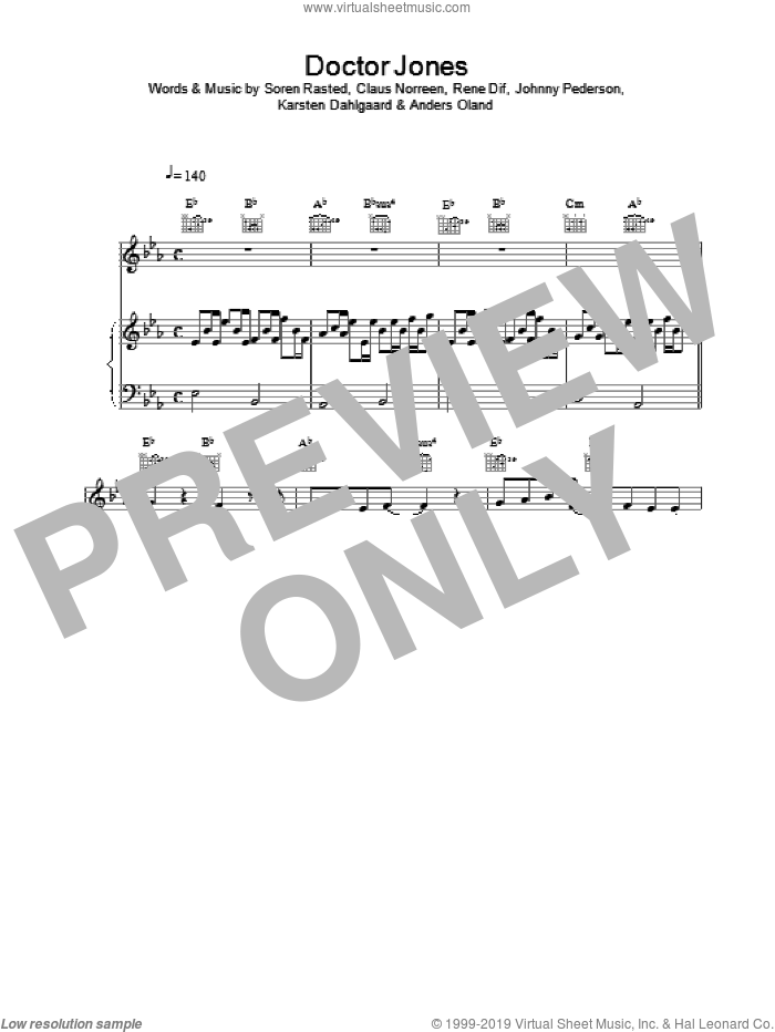 Dr Jones sheet music for voice, piano or guitar by Aqua. Score Image Preview.