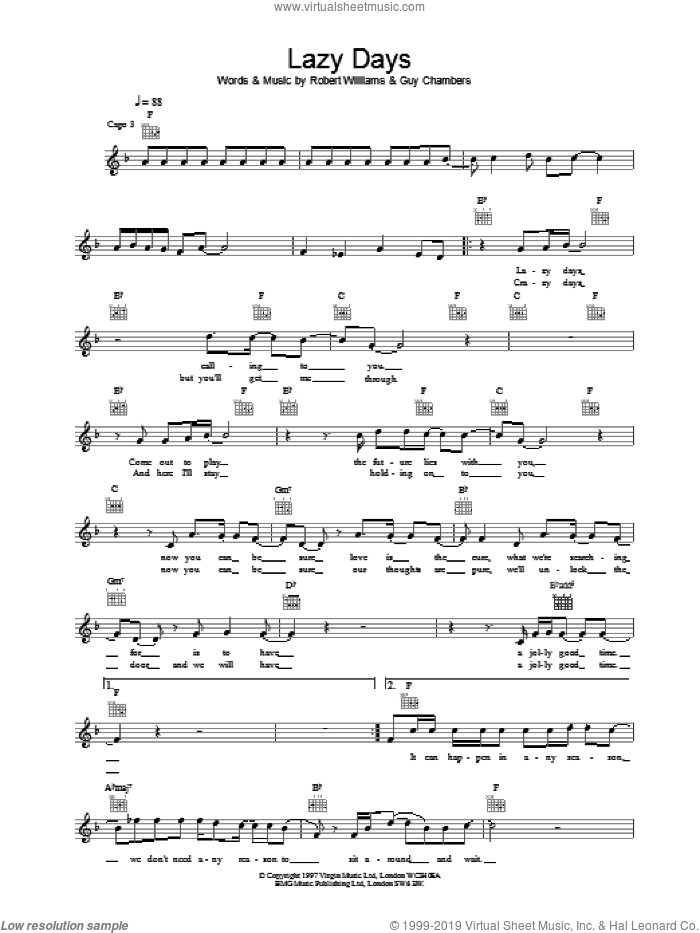 Lazy Days sheet music for voice and other instruments (fake book) by Robbie Williams, intermediate. Score Image Preview.