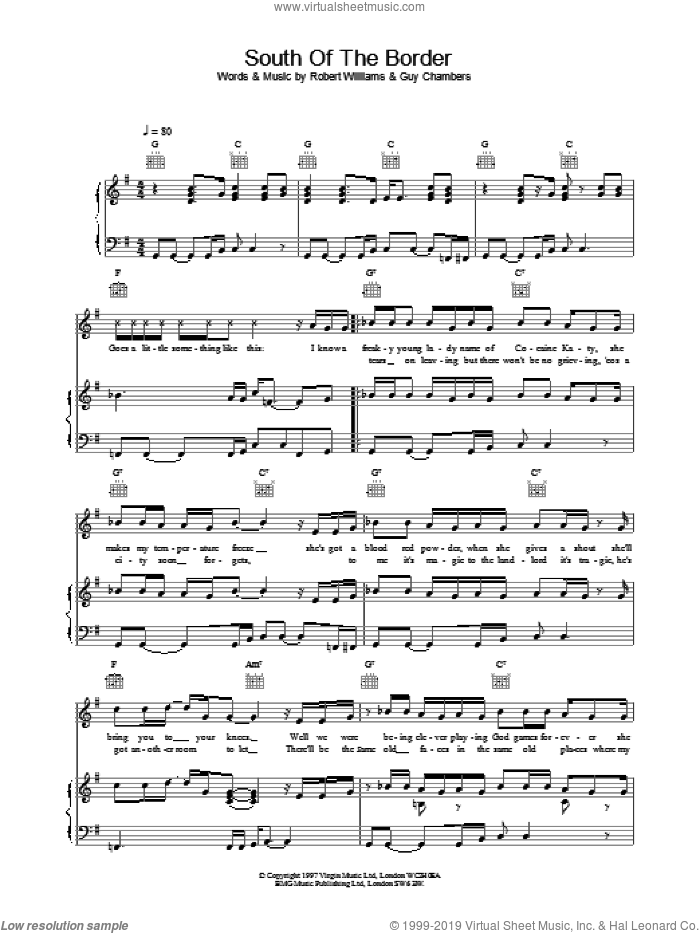 South Of The Border sheet music for voice, piano or guitar by Robbie Williams, intermediate skill level