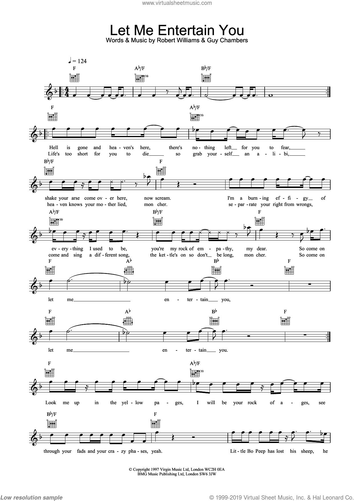 Let Me Entertain You sheet music for voice and other instruments (fake book) by Robbie Williams and Guy Chambers, intermediate skill level