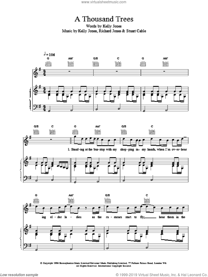 A Thousand Trees sheet music for voice, piano or guitar by Stereophonics