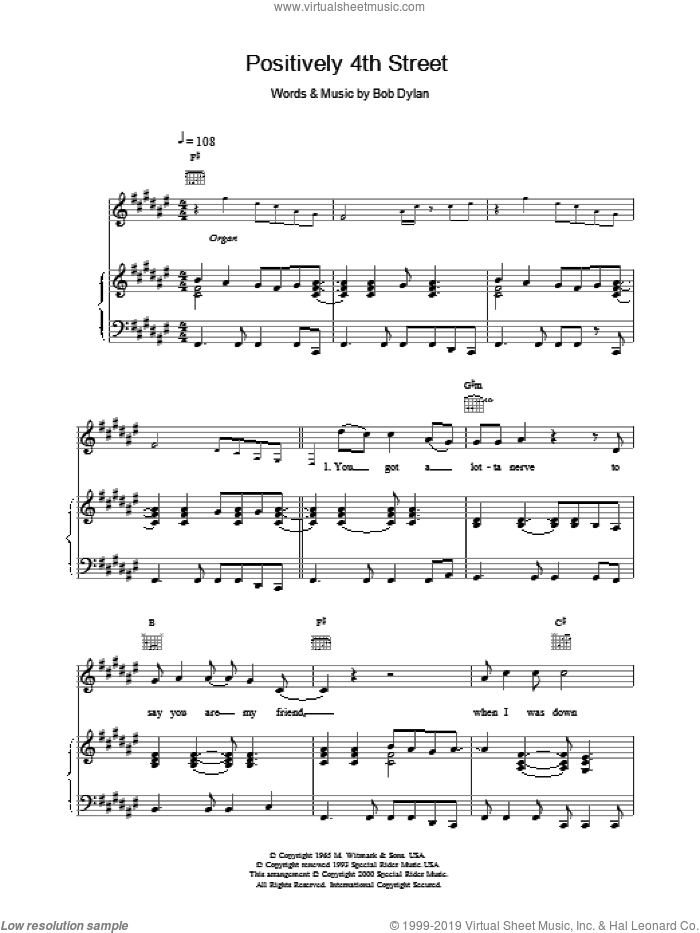 Positively 4th Street sheet music for voice, piano or guitar by Bob Dylan, intermediate skill level