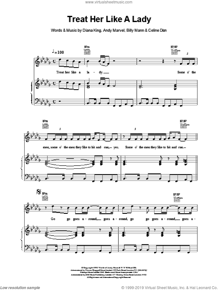 Treat Her Like a Lady sheet music for voice, piano or guitar by Celine Dion. Score Image Preview.