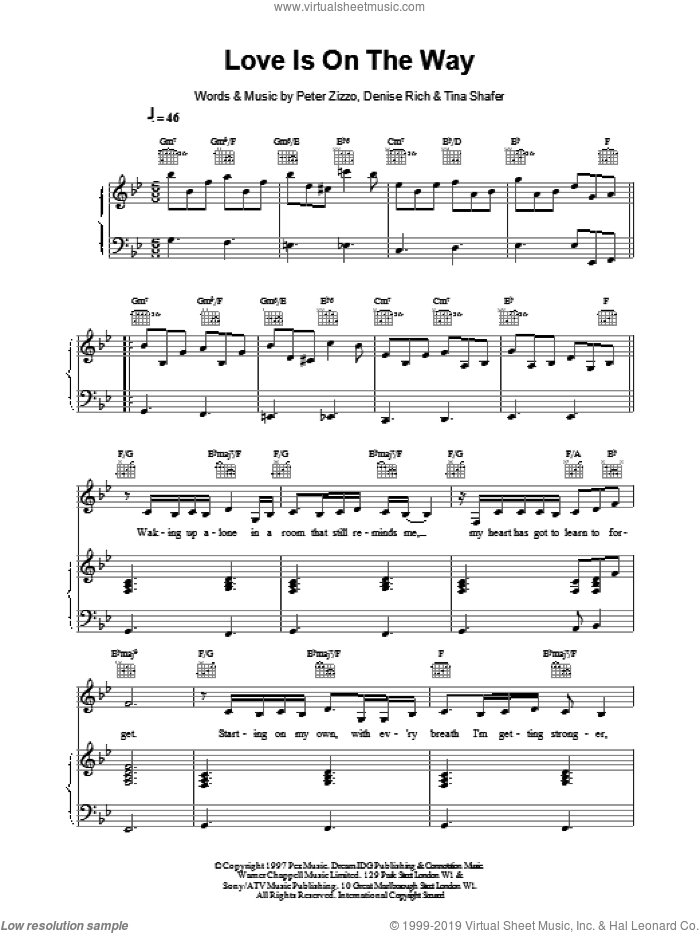 Love is on the Way sheet music for voice, piano or guitar by Celine Dion. Score Image Preview.