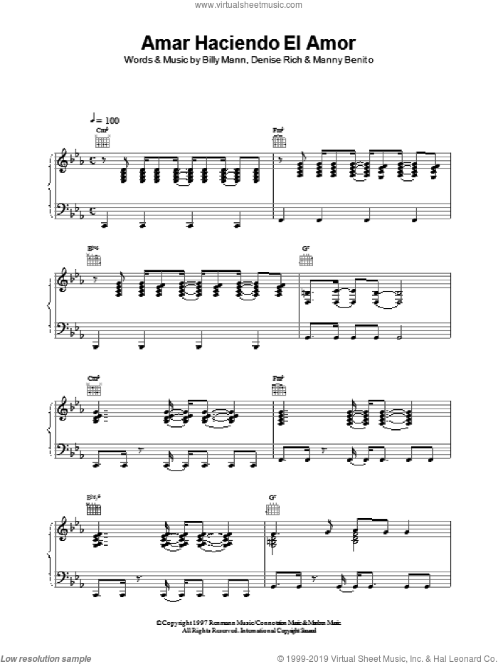 Amar Haciendo El Amor sheet music for voice, piano or guitar by Celine Dion