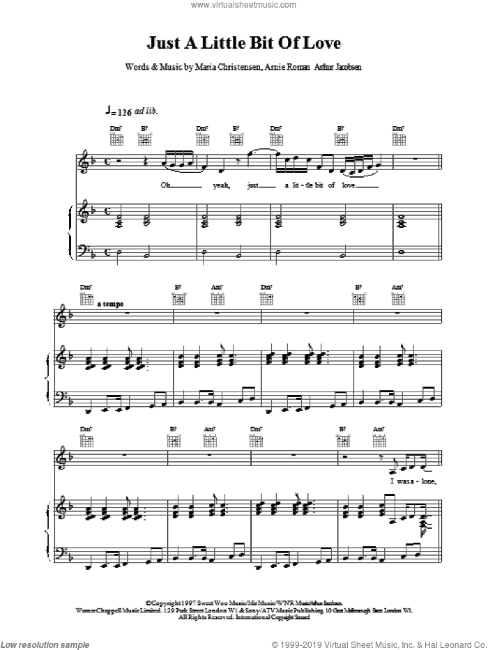 Just A Little Bit Of Love sheet music for voice, piano or guitar by Celine Dion, intermediate skill level