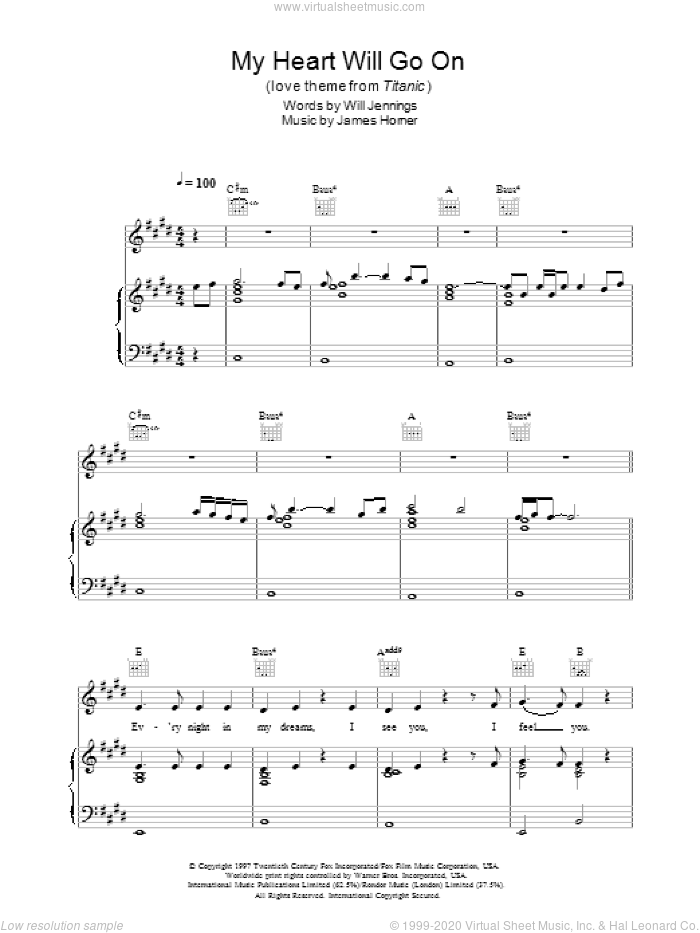 My Heart Will Go On (Love Theme from Titanic) sheet music for voice, piano or guitar by Will Jennings