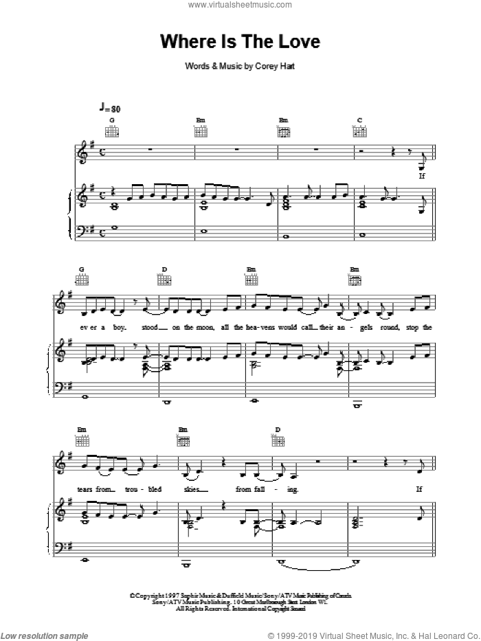 Where Is The Love sheet music for voice, piano or guitar by Celine Dion