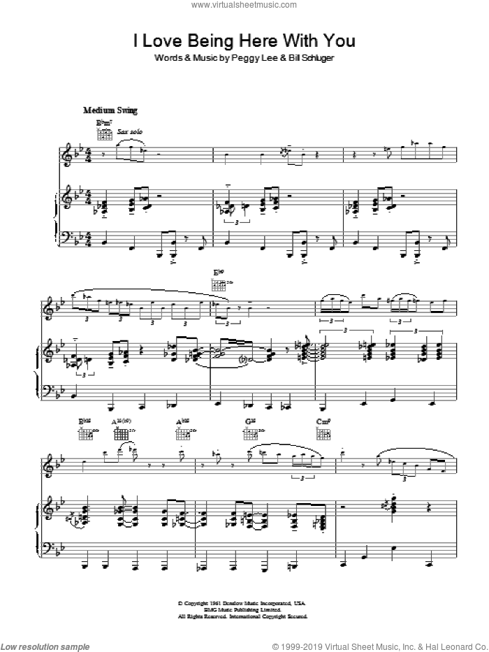 I Love Being Here With You sheet music for voice, piano or guitar by Diana Krall