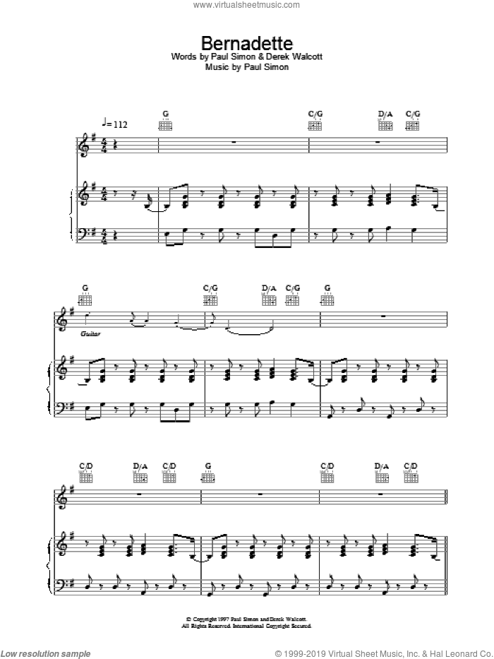 Bernadette sheet music for voice, piano or guitar by Paul Simon. Score Image Preview.