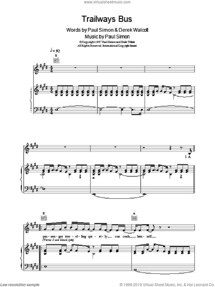 Trailways Bus sheet music for voice, piano or guitar by Paul Simon, intermediate. Score Image Preview.
