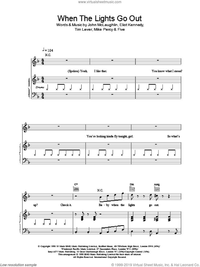 When The Lights Go Out sheet music for voice, piano or guitar by Ben Folds Five, intermediate skill level