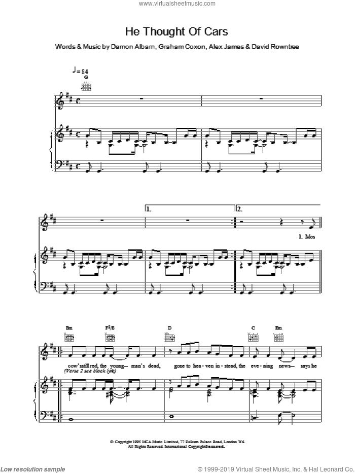 He Thought Of Cars sheet music for voice, piano or guitar by Blur. Score Image Preview.