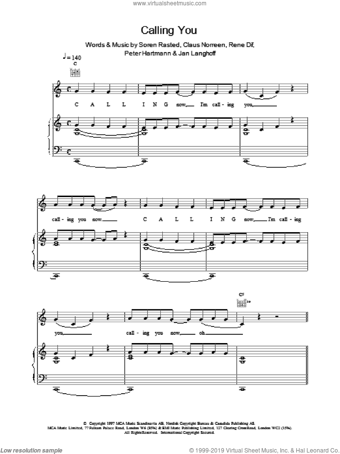 Calling You sheet music for voice, piano or guitar by Aqua. Score Image Preview.