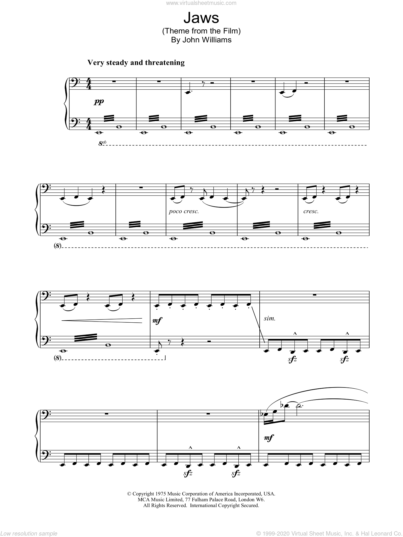 Jaws sheet music for piano solo by John Williams. Score Image Preview.