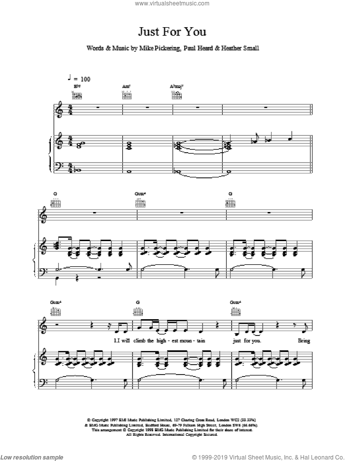 Just For You sheet music for voice, piano or guitar by M People