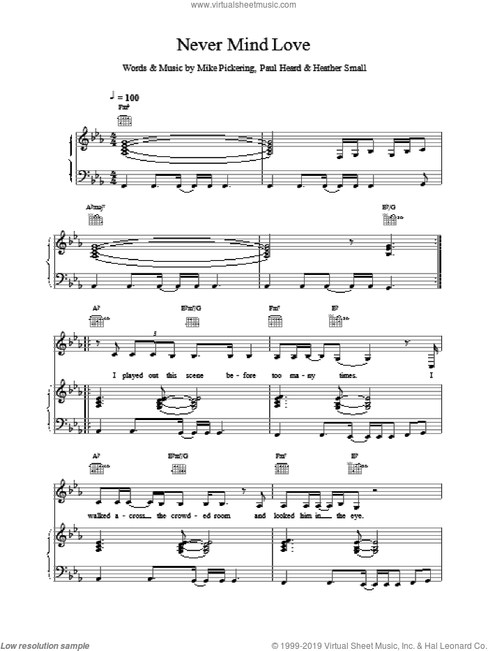 Never Mind Love sheet music for voice, piano or guitar by M People, intermediate skill level