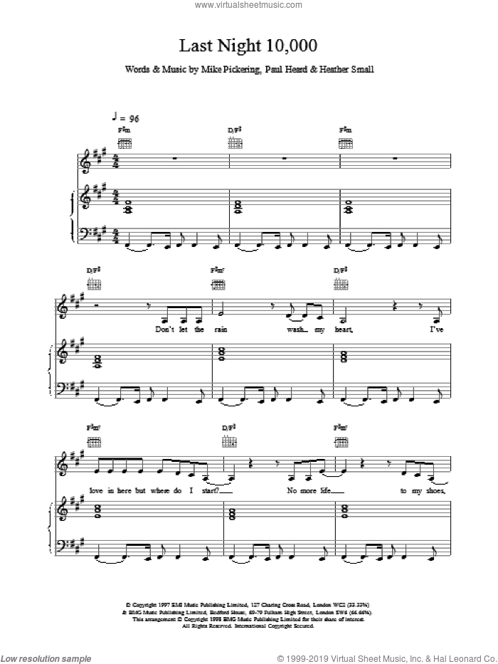 Last Night 10,000 sheet music for voice, piano or guitar by M People, intermediate. Score Image Preview.