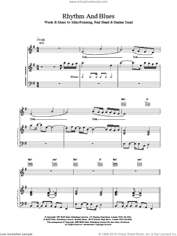 Rhythm And Blues sheet music for voice, piano or guitar by M People, intermediate skill level