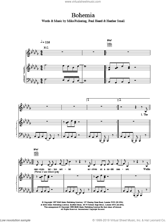 Bohemia sheet music for voice, piano or guitar by M People, intermediate voice, piano or guitar. Score Image Preview.