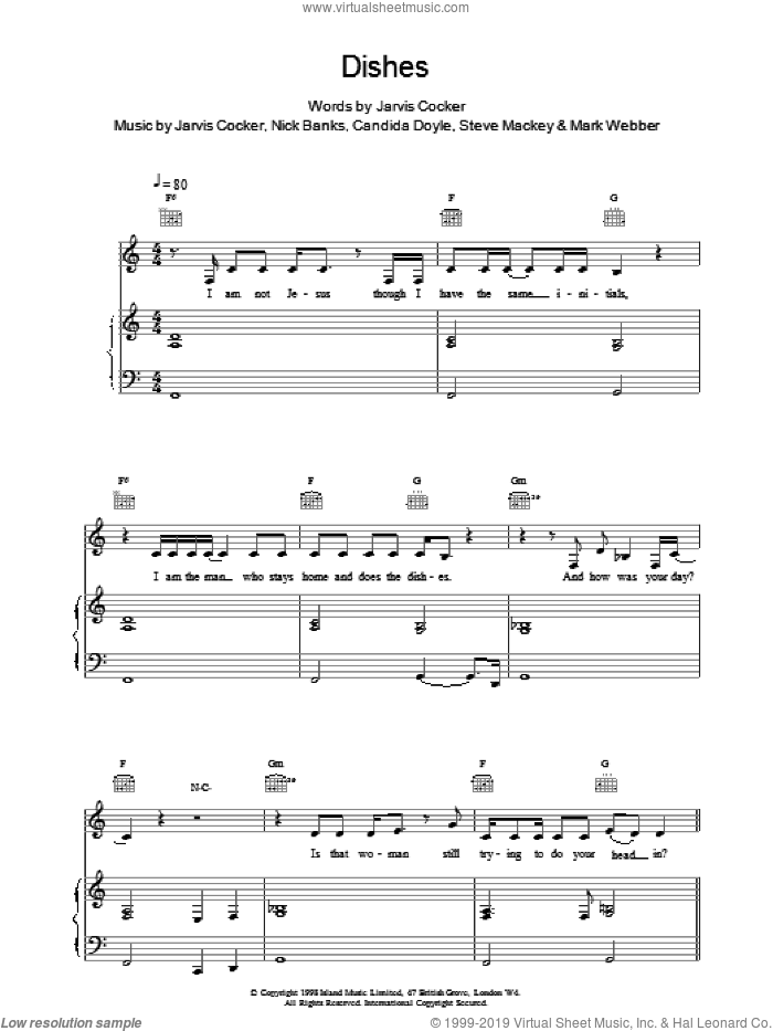 Dishes sheet music for voice, piano or guitar by Pulp