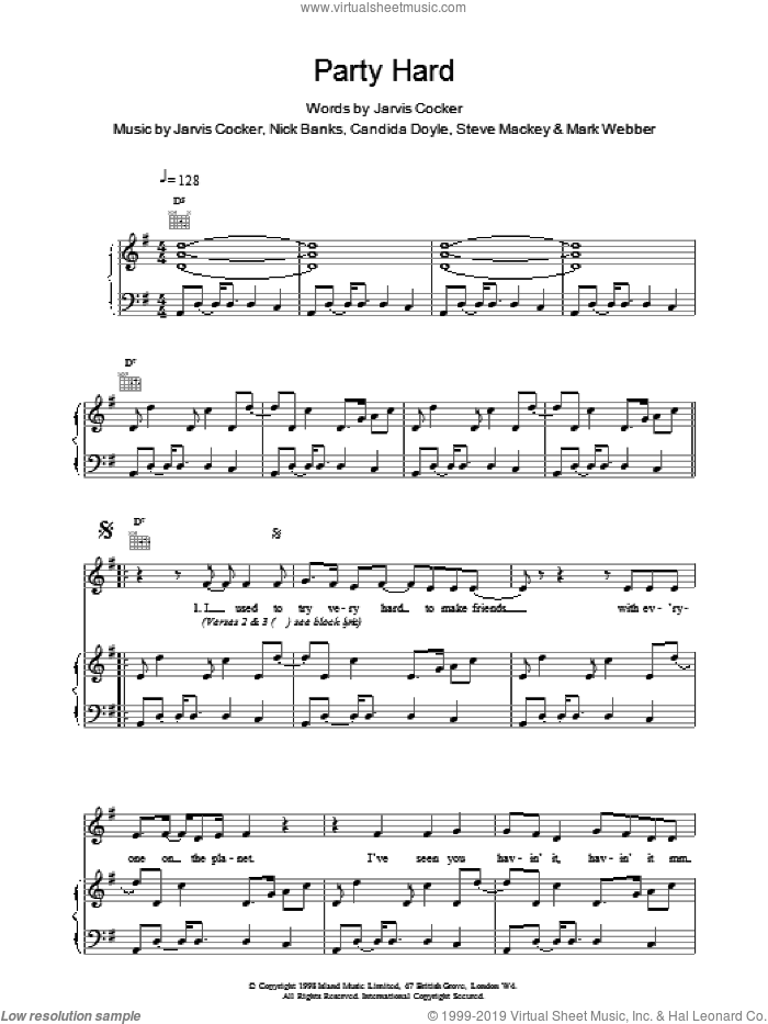 Party Hard sheet music for voice, piano or guitar by Pulp, intermediate