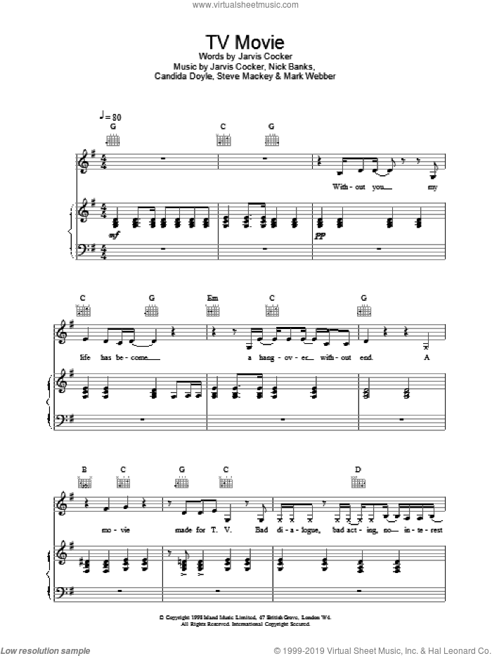 TV Movie sheet music for voice, piano or guitar by Pulp, intermediate. Score Image Preview.