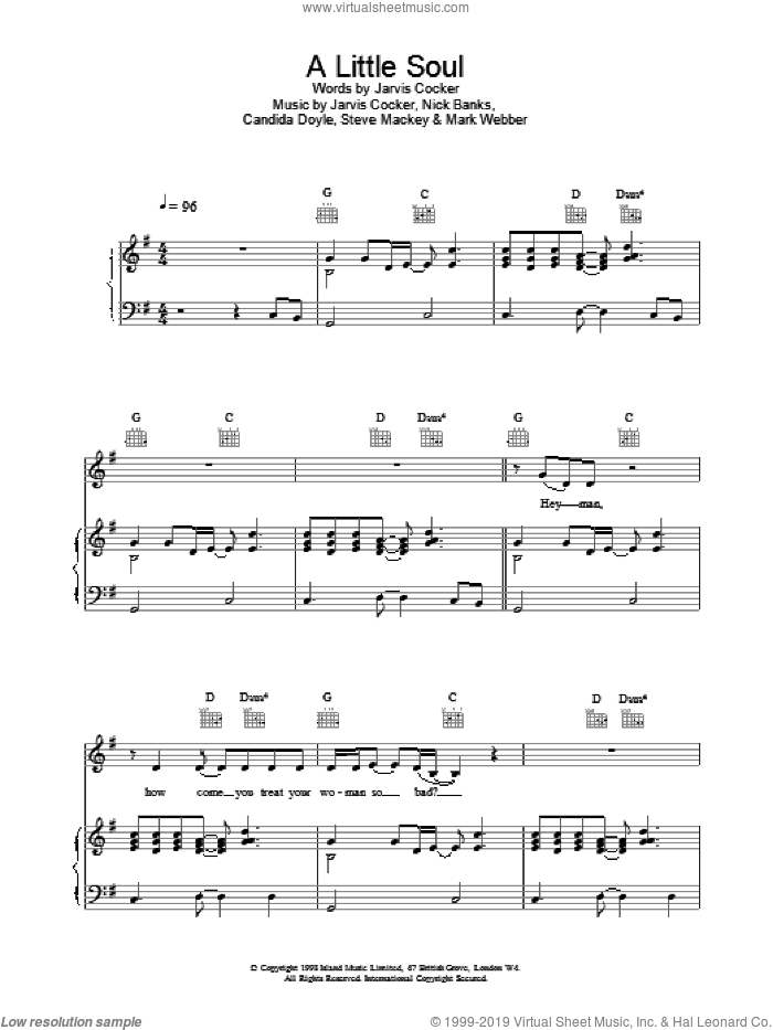 A Little Soul sheet music for voice, piano or guitar by Pulp. Score Image Preview.