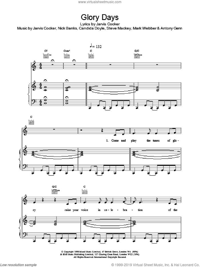 Glory Days sheet music for voice, piano or guitar by Pulp. Score Image Preview.