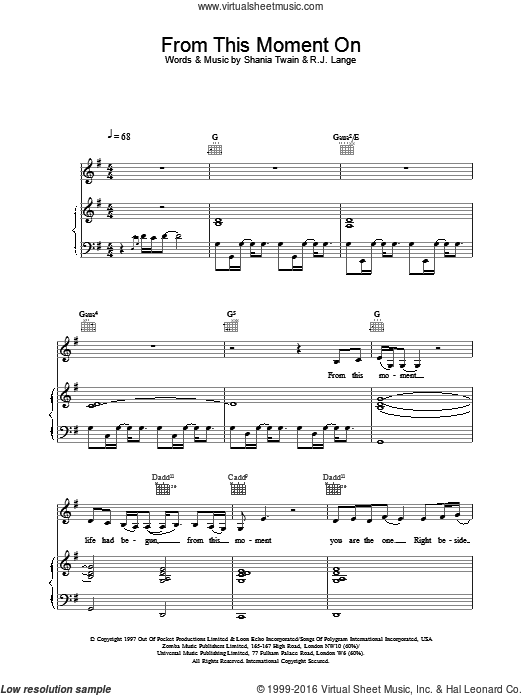 From This Moment On sheet music for voice, piano or guitar by Shania Twain. Score Image Preview.