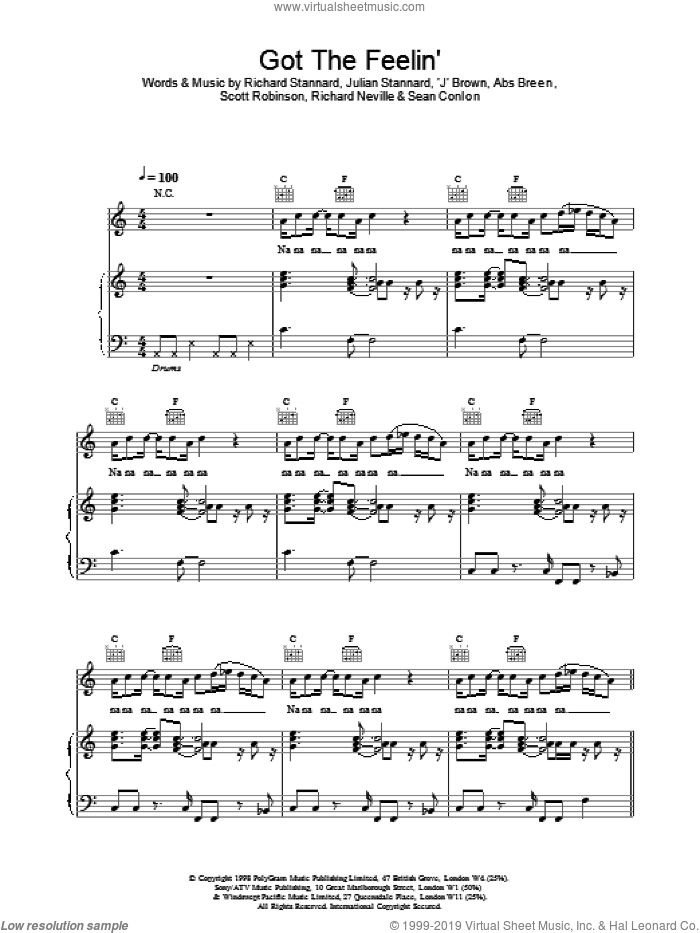 Got The Feelin sheet music for voice, piano or guitar by Ben Folds Five, intermediate skill level