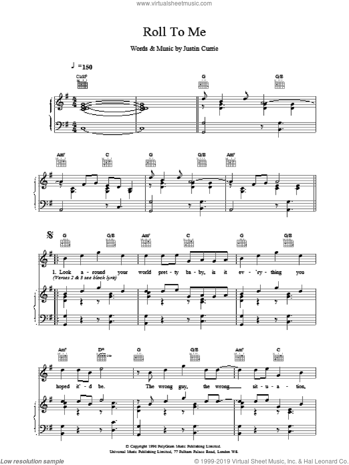 Roll To Me sheet music for voice, piano or guitar by Del Amitri. Score Image Preview.