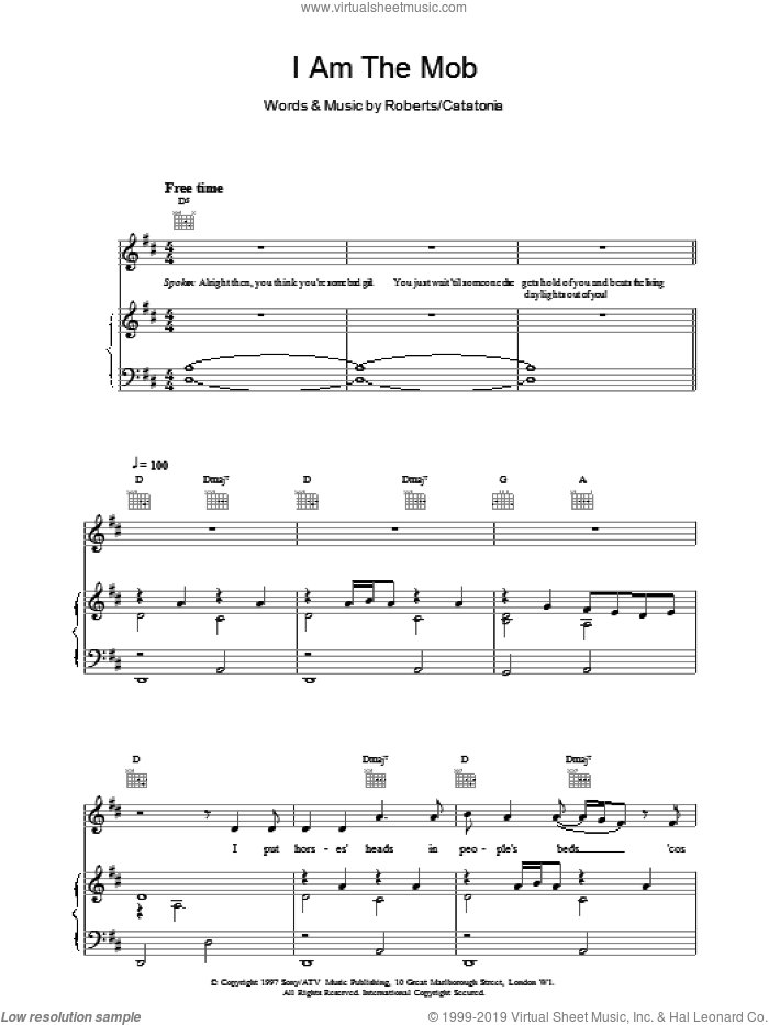 I Am The Mob sheet music for voice, piano or guitar by Catatonia, intermediate skill level