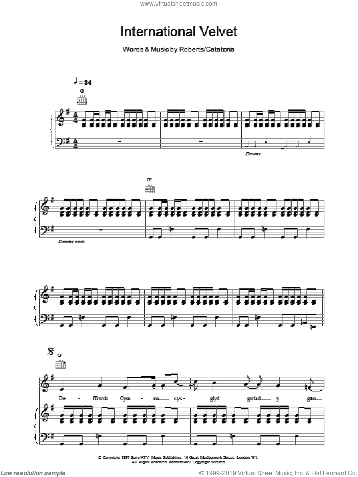 International Velvet sheet music for voice, piano or guitar by Catatonia, intermediate skill level
