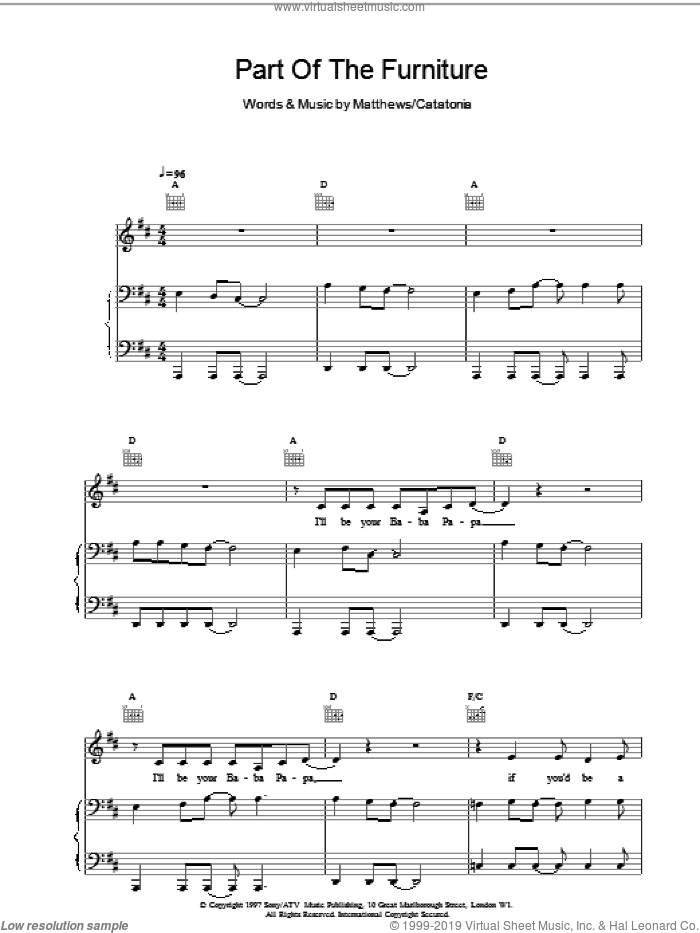 Part Of The Furniture sheet music for voice, piano or guitar by Catatonia