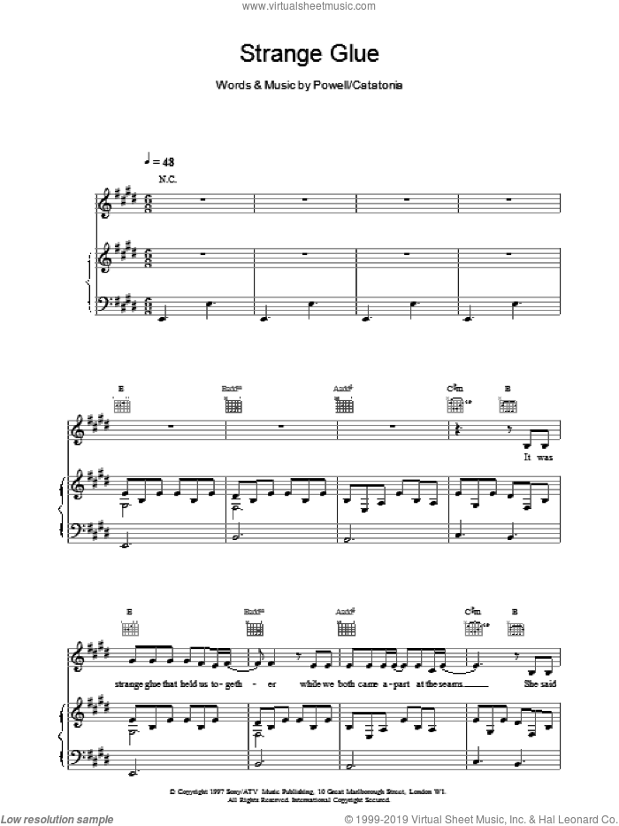 Strange Glue sheet music for voice, piano or guitar by Catatonia. Score Image Preview.