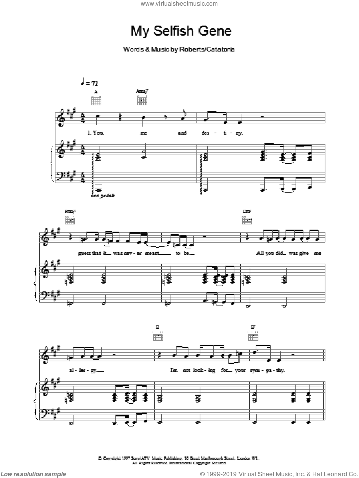My Selfish Gene sheet music for voice, piano or guitar by Catatonia. Score Image Preview.