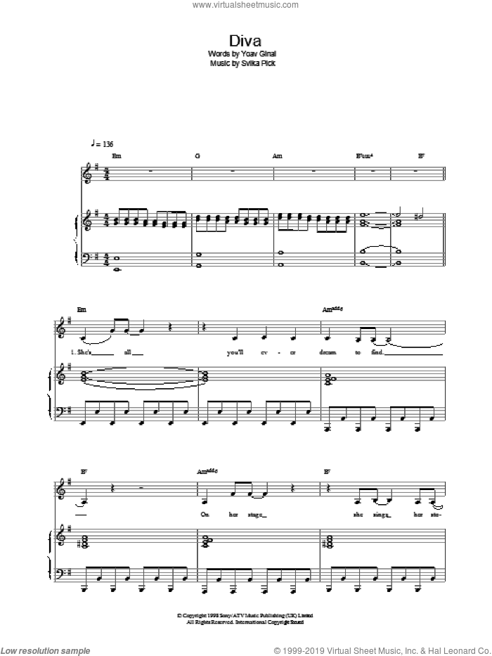 Diva sheet music for voice, piano or guitar by Dana International, intermediate skill level