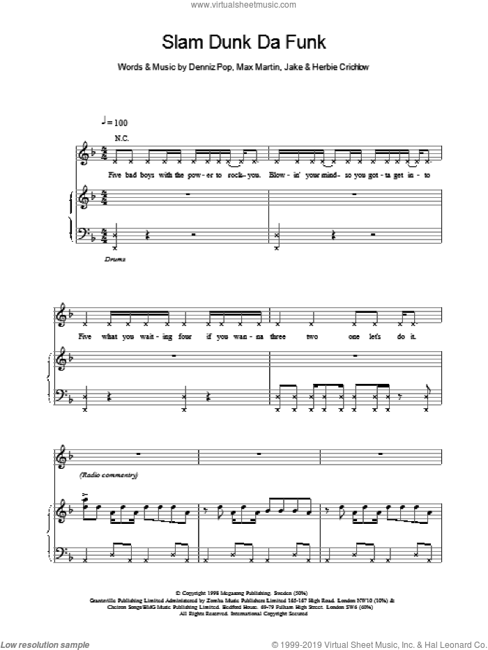 Slam Dunk Da Funk sheet music for voice, piano or guitar by Ben Folds Five, intermediate voice, piano or guitar. Score Image Preview.