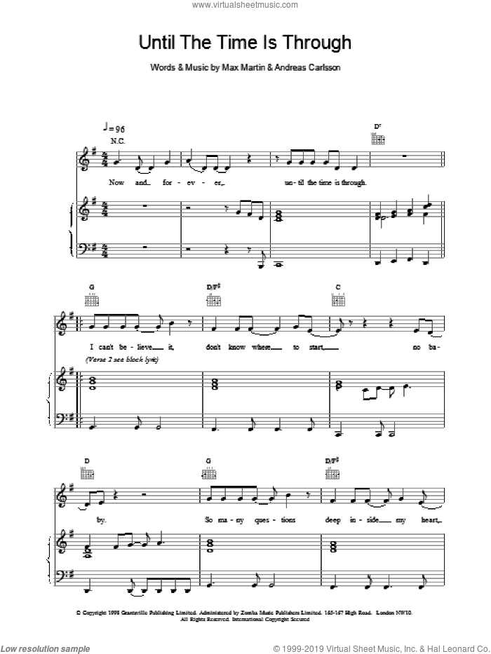 Until The Time Is Through sheet music for voice, piano or guitar by Ben Folds Five, intermediate skill level