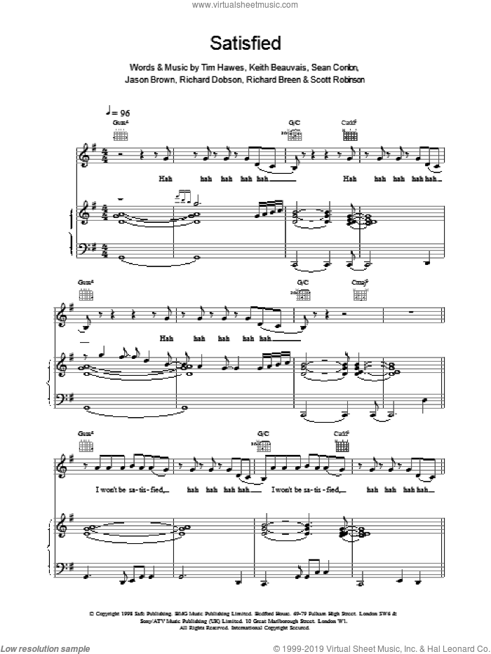 Satisfied sheet music for voice, piano or guitar by Ben Folds Five, intermediate skill level