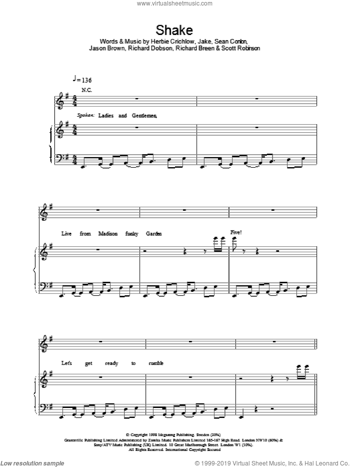 Shake sheet music for voice, piano or guitar by Ben Folds Five, intermediate skill level