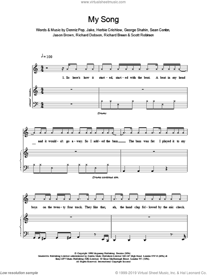 My Song sheet music for voice, piano or guitar by Ben Folds Five
